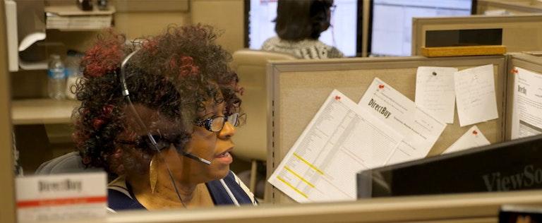 DirectBuy call center employee at work