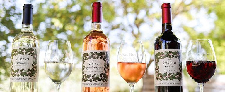 Vino Noceto wine bottles for their Moscato Secco, Rosato di Sangiovese, and Sangiovese
