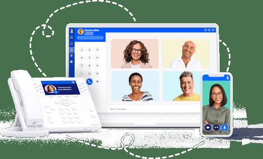 Nextiva's internet phone service for businesses works on desk phones, laptops, desktops, and mobile phones.