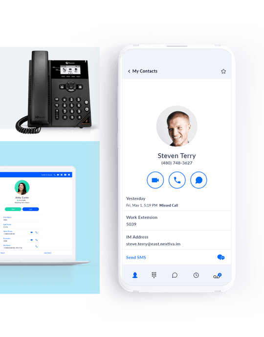 Cloud VoIP on a desk phone, laptop, and mobile app